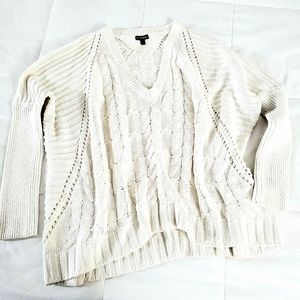 Express | oversized boxy heavy cable knit sweater